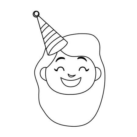 cute happy girl head with birthday hat vector illustration design