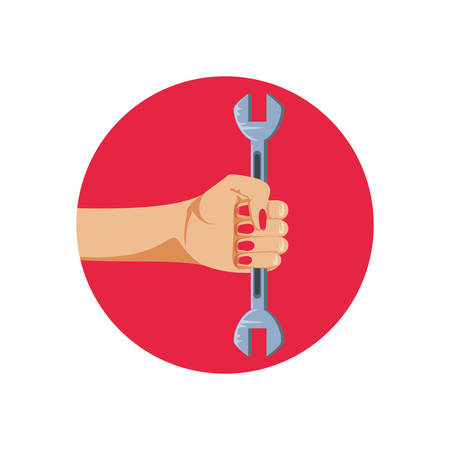 hand in frame circular with wrench tool vector illustration design Foto de archivo - 129806334