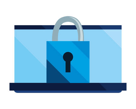 laptop padlock cybersecurity data protection vector illustration