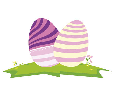 happy easter eggs painted vector illustration design 向量圖像