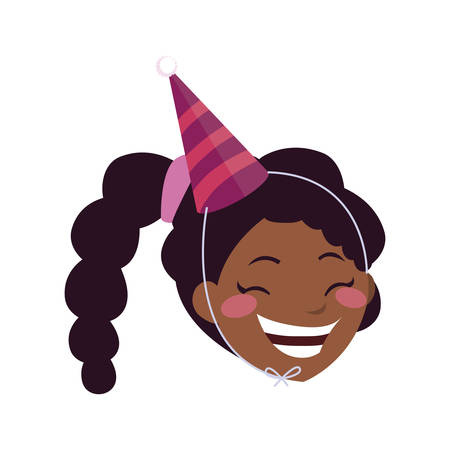 cute happy black girl with birthday hat vector illustration design 向量圖像