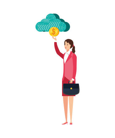 young businesswoman with cloud computing and coin vector illustration design