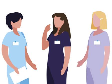 female medicine workers with uniform characters vector illustration design Stock Illustratie