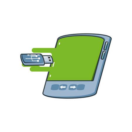 tablet device with usb memory vector illustration design Illusztráció