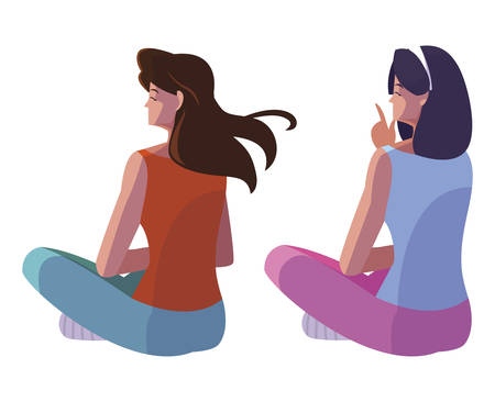 women seated back character vector illustration design