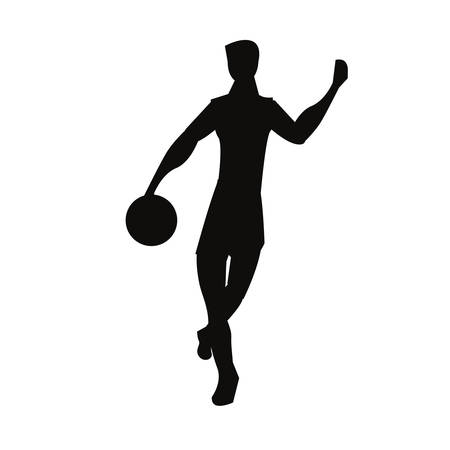 player basketball sport ball silhouette vector illustration 向量圖像
