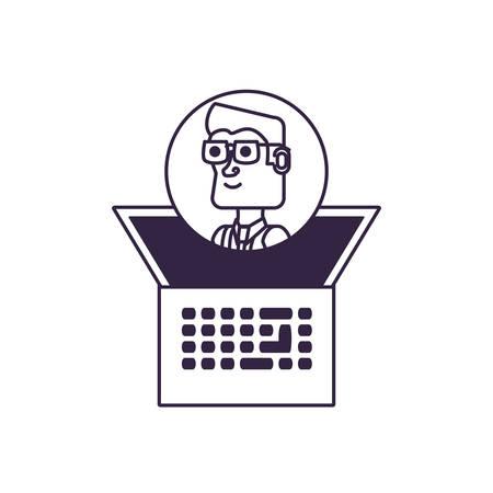businessman elegant in frame circular with laptop computer vector illustration design