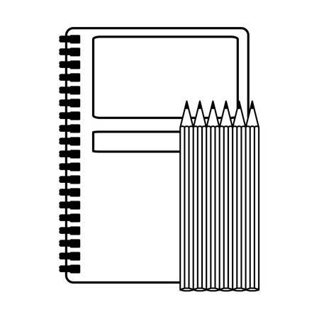 school notebook with colors pencils vector illustration design Çizim