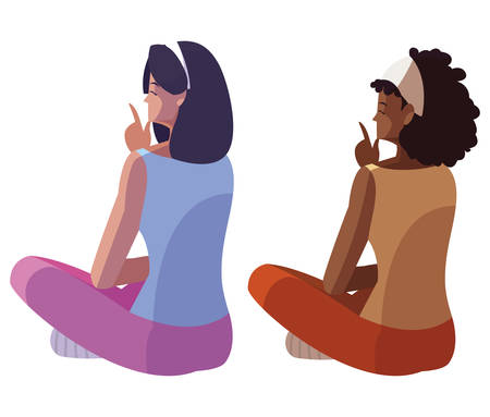 interracial women seated back character vector illustration design  イラスト・ベクター素材