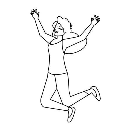 happy young woman celebrating vector illustration design Çizim