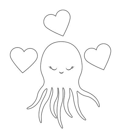 cute octopus with hearts love vector illustration design