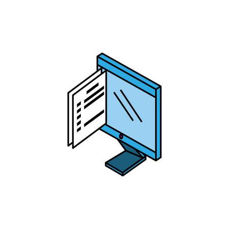 desktop computer with documents paper vector illustration design