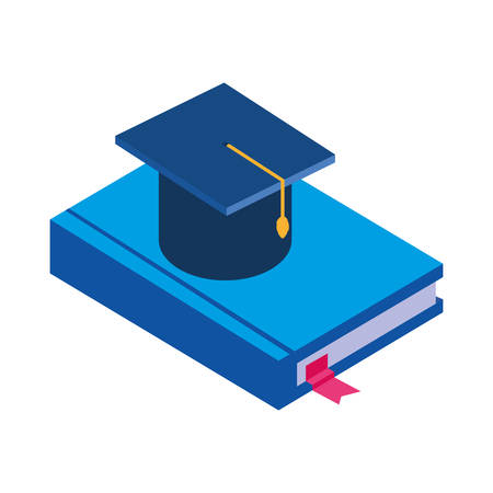 text book with graduation hat vector illustration design Ilustrace