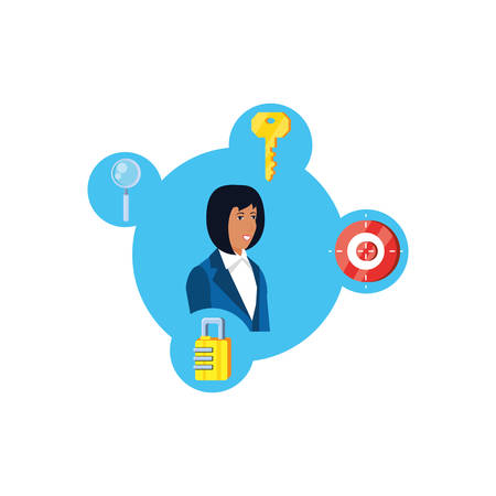 young businesswoman with security icons vector illustration design