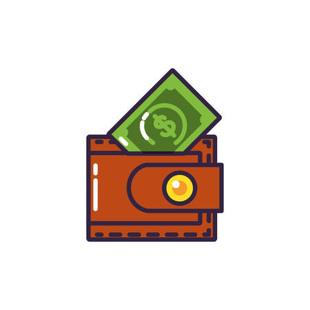 bills dollar with wallet money vector illustration design Illusztráció