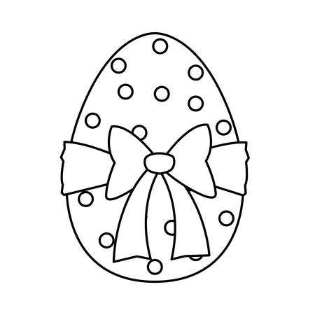happy easter egg painted with bow ribbon vector illustration design