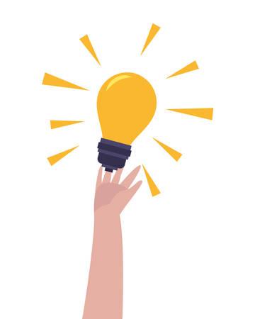 hand with bulb idea creativity vector illustration