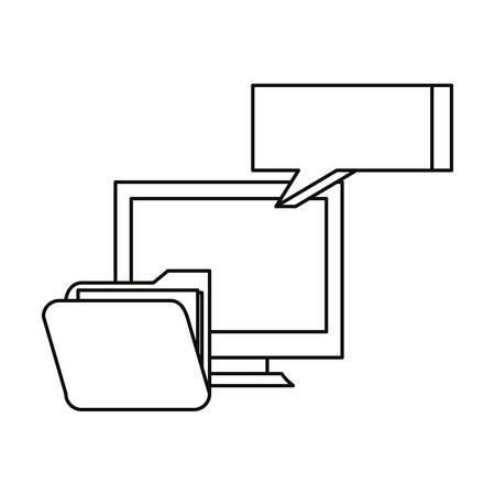 computer folder speech bubble cybersecurity data protection vector illustration outline