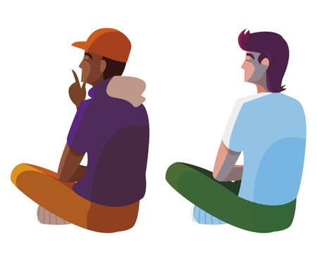 interracial men seated back characters vector illustration design
