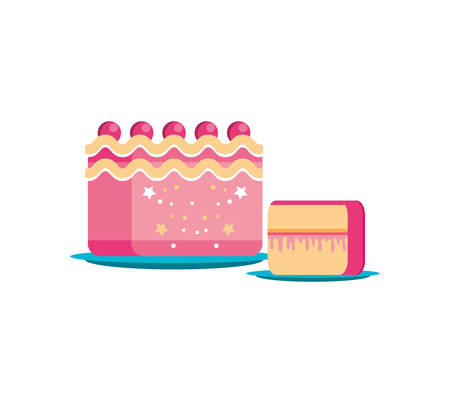 sweet cake of birthday with slice vector illustration design Ilustração