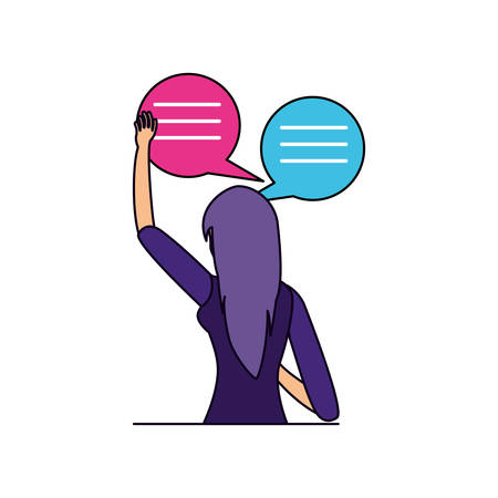 woman with speech bubbles vector illustration design Standard-Bild - 129806869