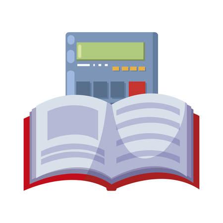 pile text books with calculator vector illustration design Çizim