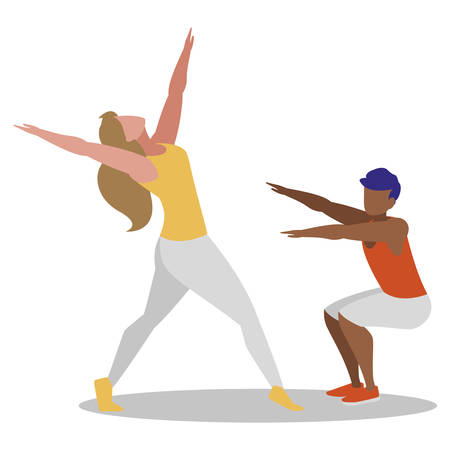 athletic couple practicing exercises vector illustration design