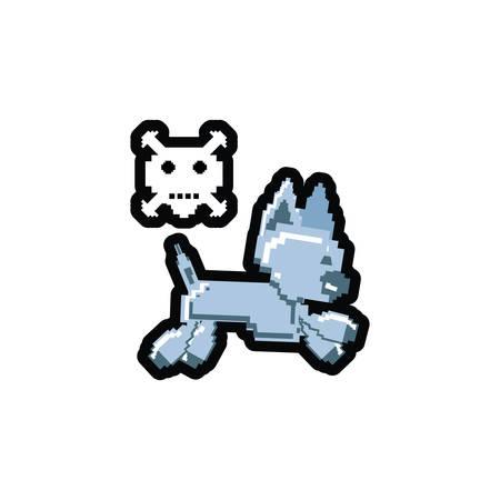 video game pixelated robotic dog with skull danger vector illustration design