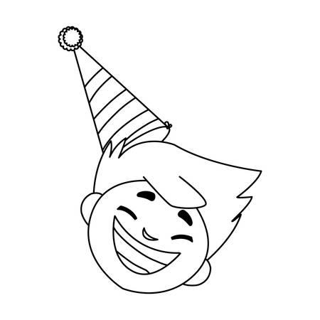 cute happy boy head with birthday hat vector illustration design