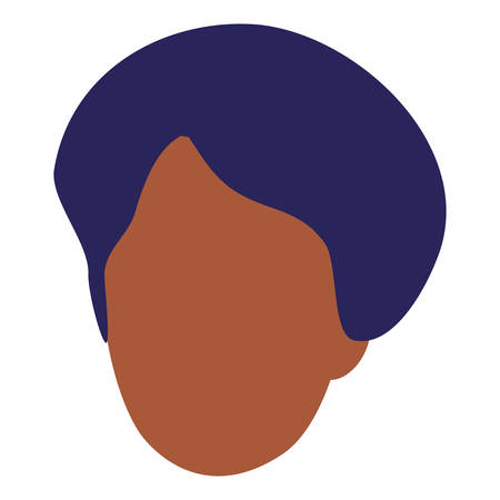 young black man head character vector illustration design