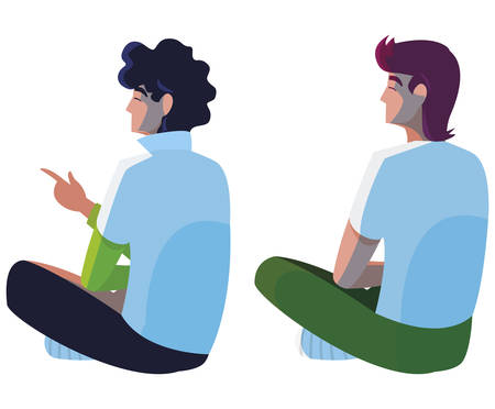 men seated back character vector illustration design  イラスト・ベクター素材