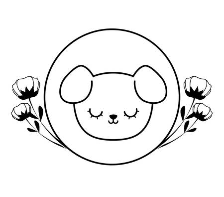 head of cute dog in frame circular with flowers vector illustration design Çizim