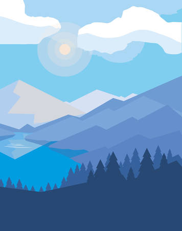 mountains with forest snowscape scene vector illustration design Çizim