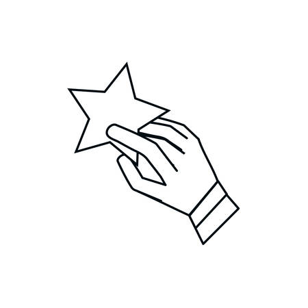 hand with cute star isolated icon vector illustration design
