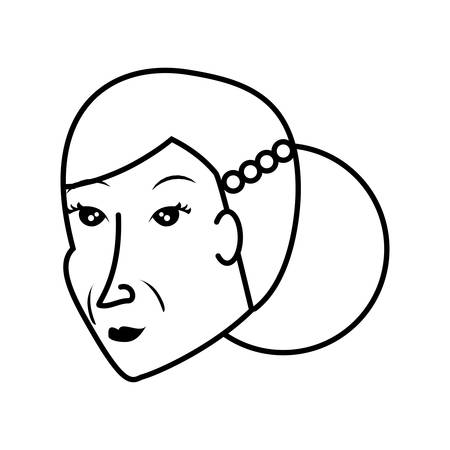 head of chinese old woman avatar character vector illustration design