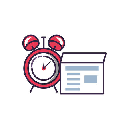 alarm clock with envelope mail vector illustration design Ilustração