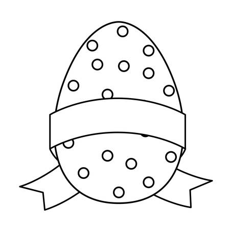 happy easter egg painted with ribbon frame vector illustration design