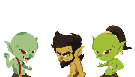 ugly trolls magic characters vector illustration design