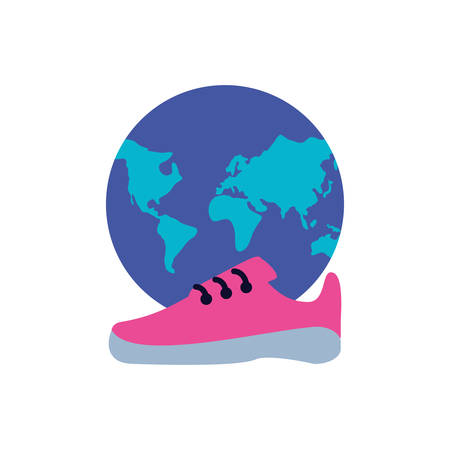 shoe runner with planet earth vector illustration design Ilustração