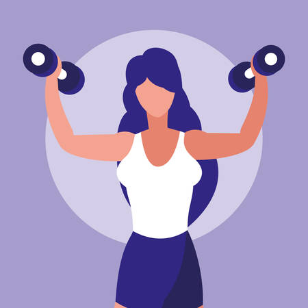 young athletic woman lifting dumbbells vector illustration design