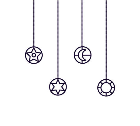 Ramadan Kareem lamps and symbols hanging vector illustration design