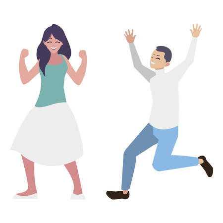 happy young couple celebrating characters vector illustration design Standard-Bild - 129807069