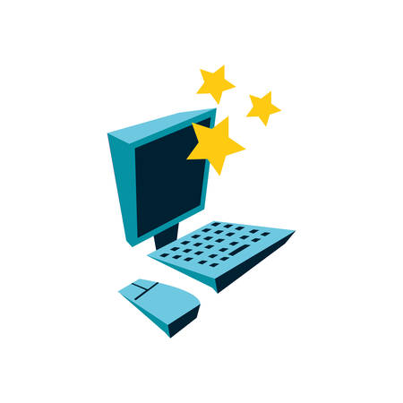 cute stars with desktop computer vector illustration design