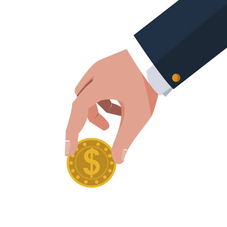 businessman hand with coins money vector illustration design