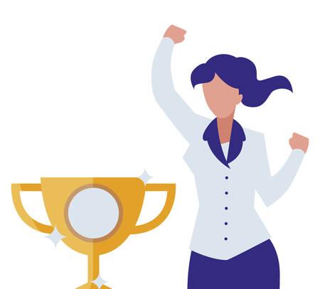 elegant businesswoman celebrating with trophy cup vector illustration design Illusztráció