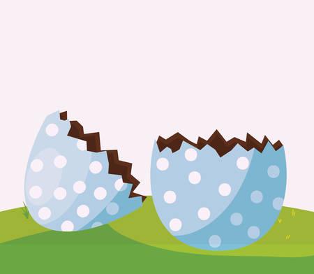 happy easter egg painted break in the camp vector illustration design Çizim