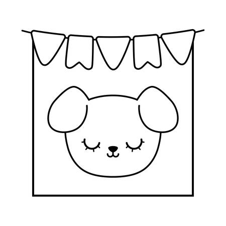 head of cute dog in frame with garlands hanging vector illustration design