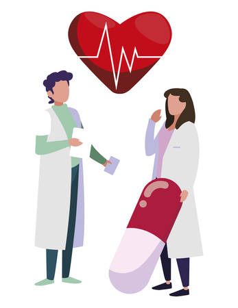 couple doctors with heart cardio vector illustration design