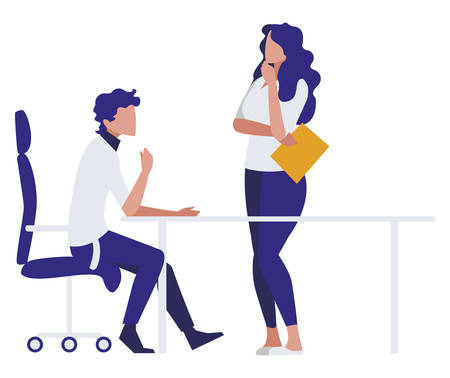 business couple in the office scene vector illustration design  イラスト・ベクター素材