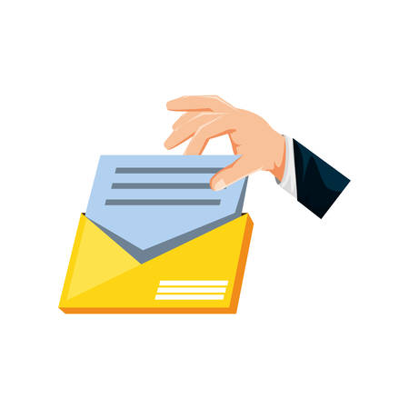 hand with envelope mail isolated icon vector illustration design